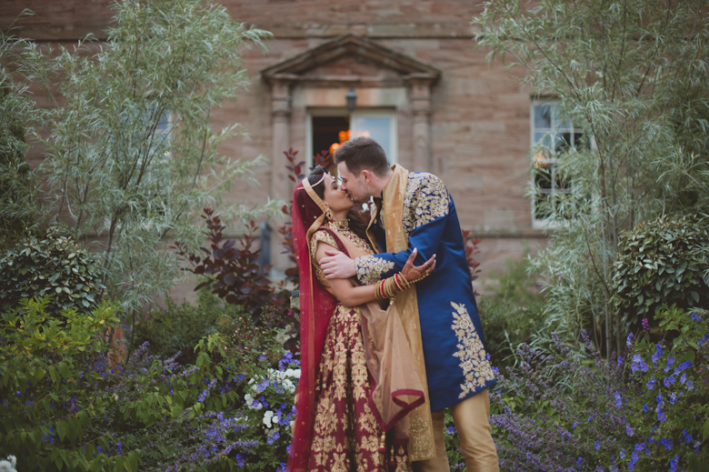 bride and groom kissing, Western Asian Wedding Photography