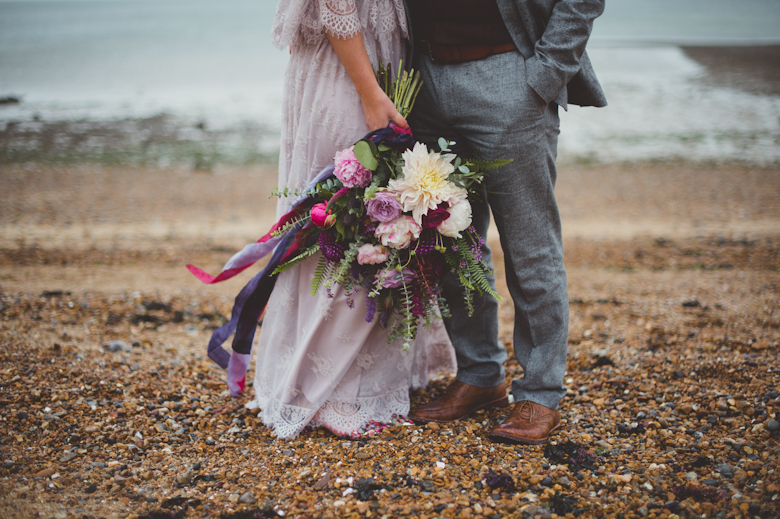 Whitstable - Coastal Wedding East Quay Wedding - beautiful shot of bride and groom - Alternative Wedding Photographer