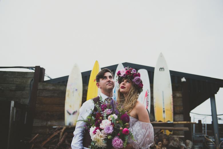 romantic bride and groom shot