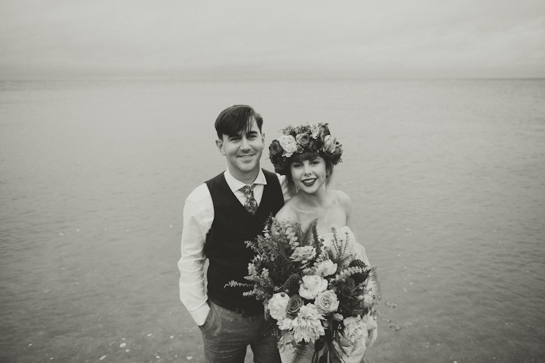 bride and groom in the sea, Whitstable - Coastal Wedding at the East Quay Wedding in Whitstable, Kent wedding