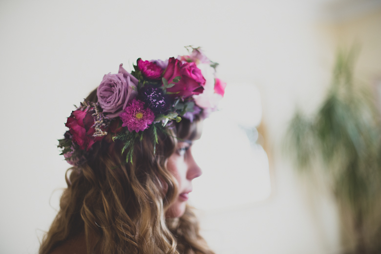 Floral Crown out of roses, bride Coastal Wedding East Quay Wedding