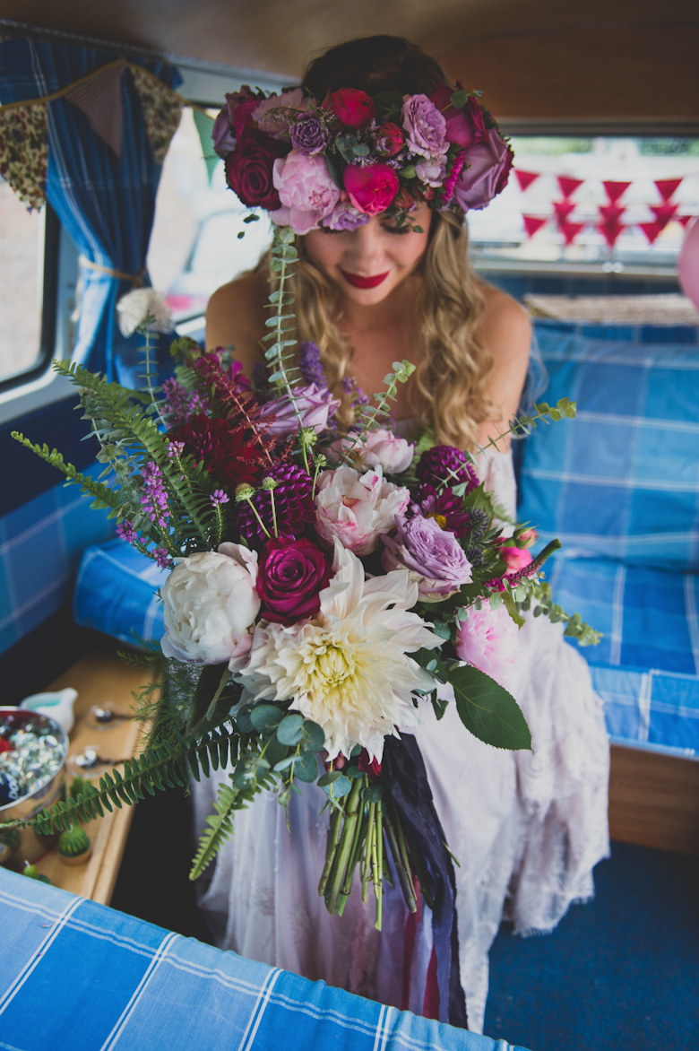 bride in the camper van, Coastal Wedding East Quay Wedding
