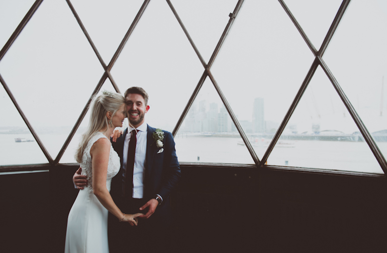 Trinity Buoy Wharf wedding rainy day in the lighthouse