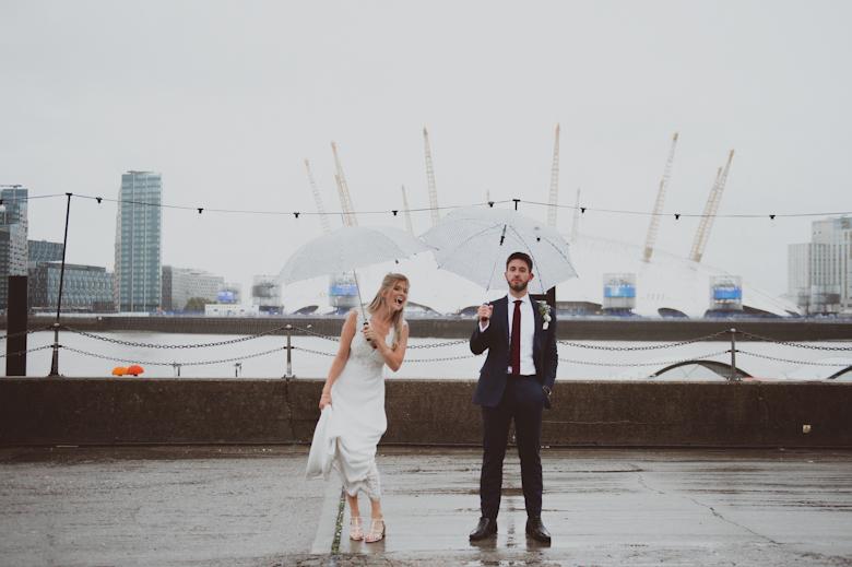 Trinity Buoy Wharf wedding rainy day