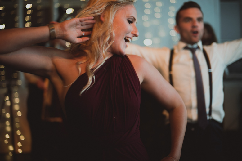 fun on the dance floor at the wedding
