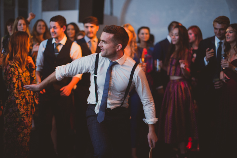 fun wedding party dancing