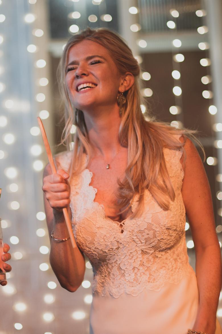 bride singing and dancing