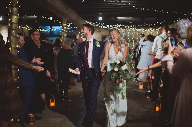 confetti in the electrician roomthe trinity buoy wharf wedding