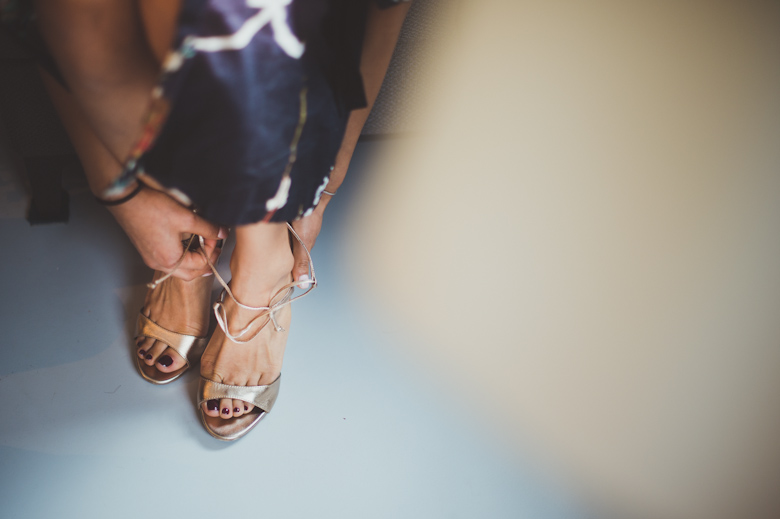 Bride putting her shoes on - Bride having make up done - London photographer - Asylum Chapel - Sasha Weddings - London photographer