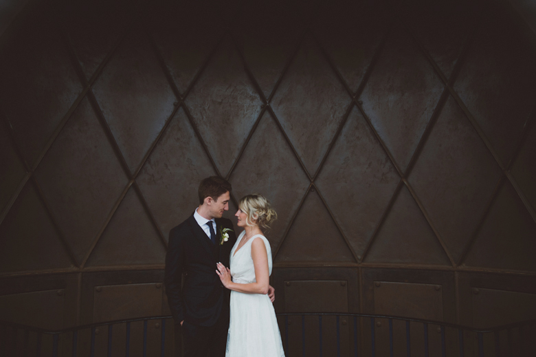 Bride and groom at the lighthouse at the Trinity Buoy Wharf wedding in London - warehouse wedding photography