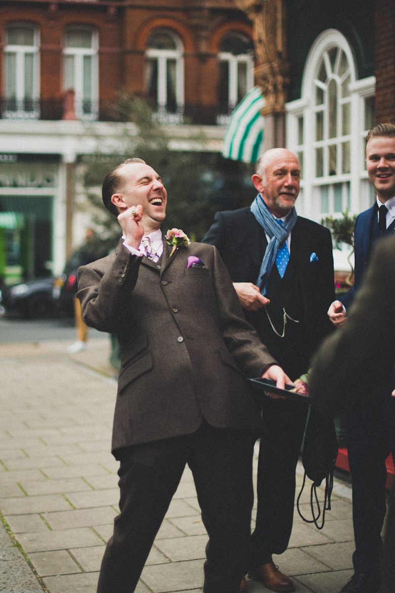 groom having a laugh
