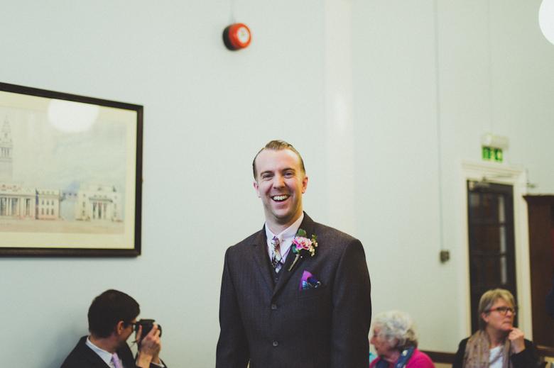 groom laughing waiting\