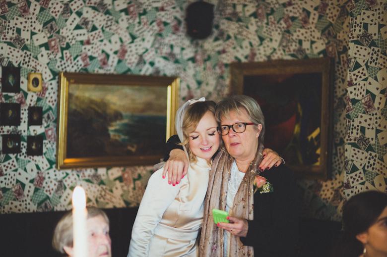 bride and aunt hug