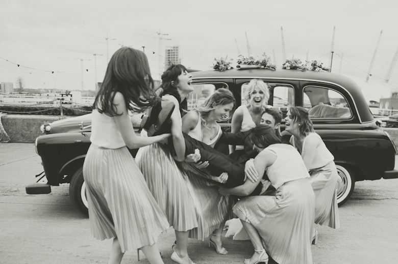 fun with groom and bridesmaids