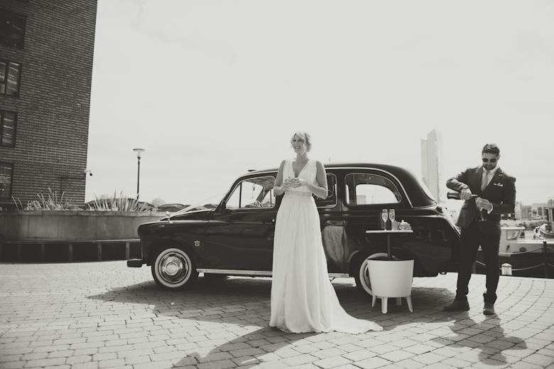 bride and black cab