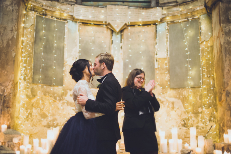 Asylum Chapel Wedding - Kiss