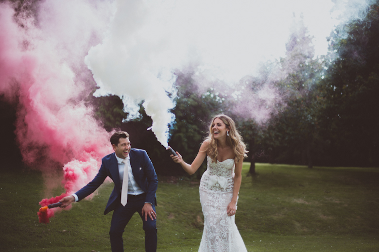 Smoke bomb wedding