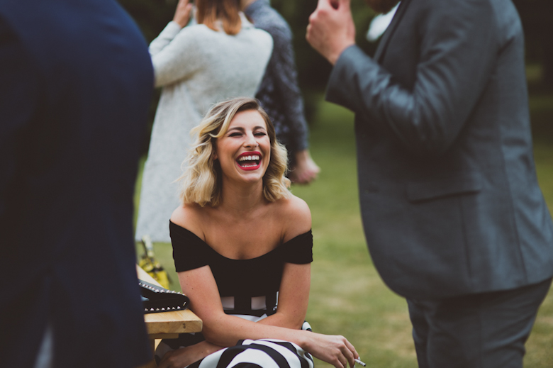 guests laughing, Festival Wedding
