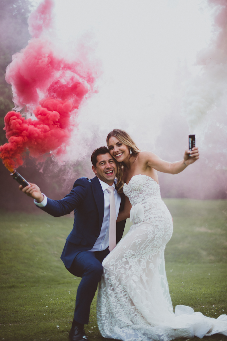 smoke bomb wedding photo - Festival Wedding