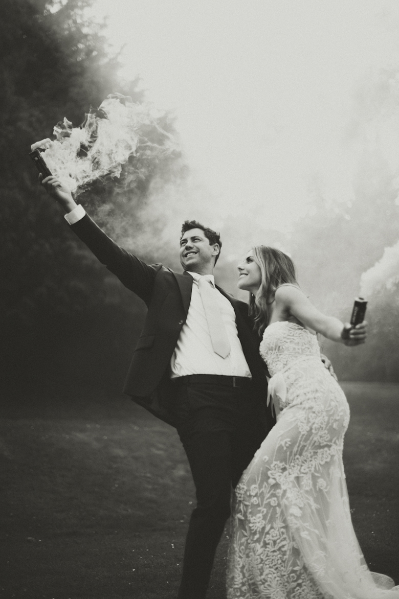 Festival Wedding - smoke bomb wedding photo