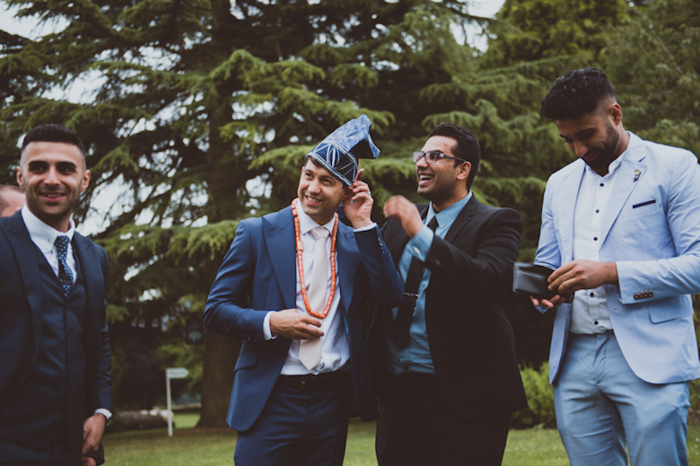 groom and friends having fun - Festival Wedding