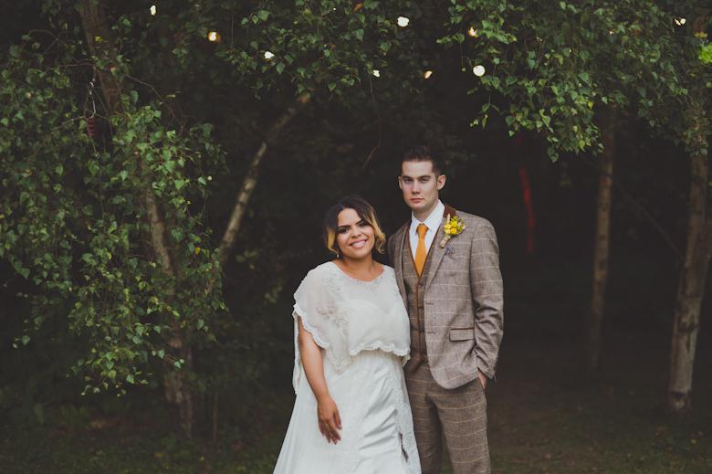 woodland bride and groom