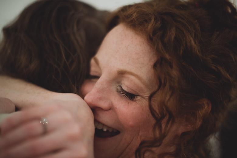 bride hugging a friend