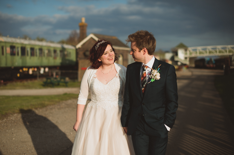 The newlyweds at the Buckinghamshire Railway venue
