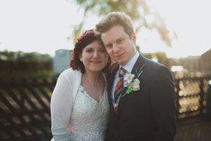 The newlyweds at the Buckinghamshire Railway venue