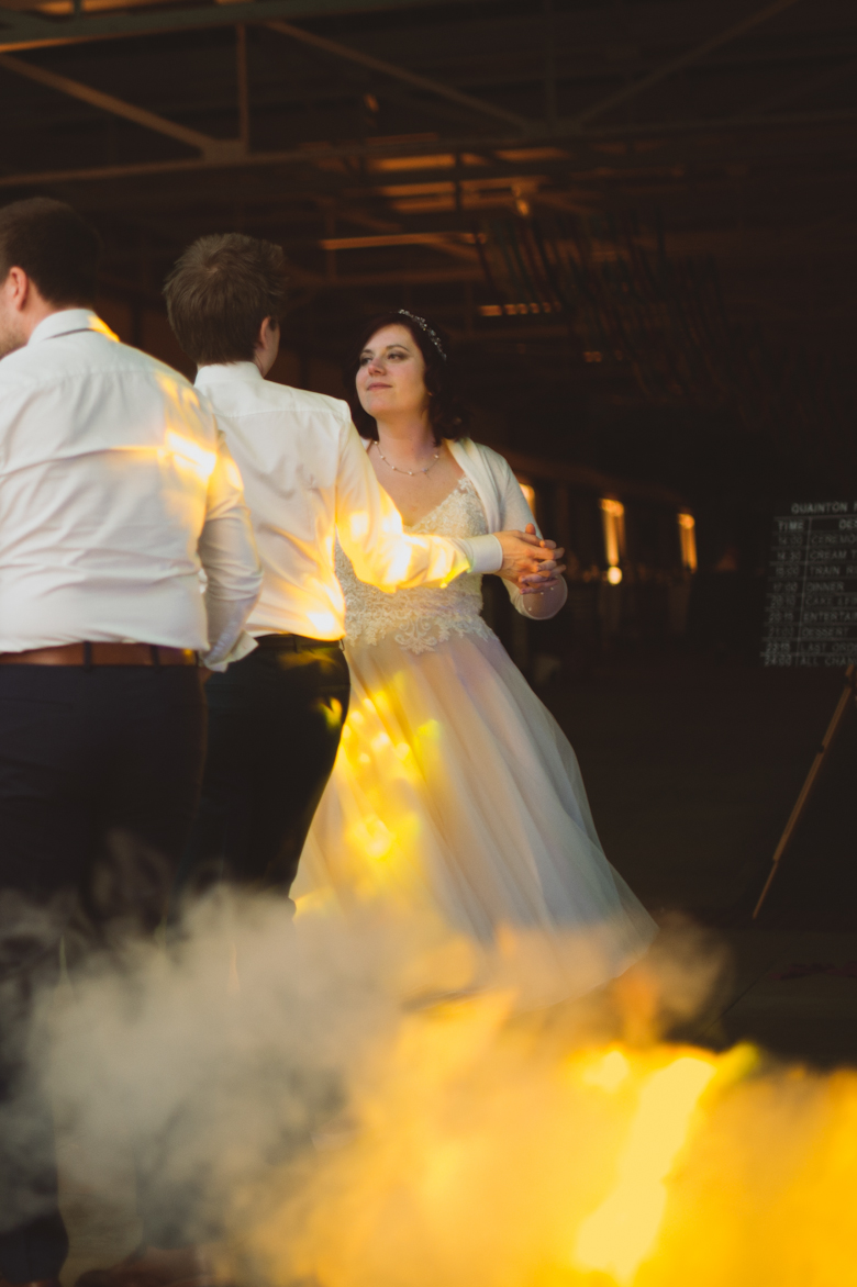 bride and groom dancing - Buckinghamshire Railway venue