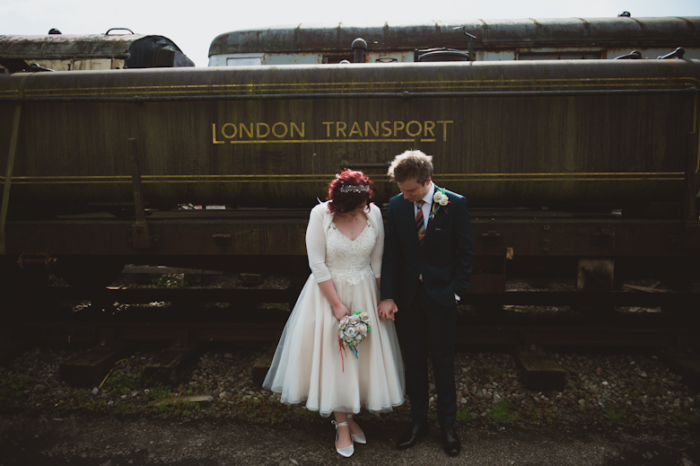bride and groom with trains
