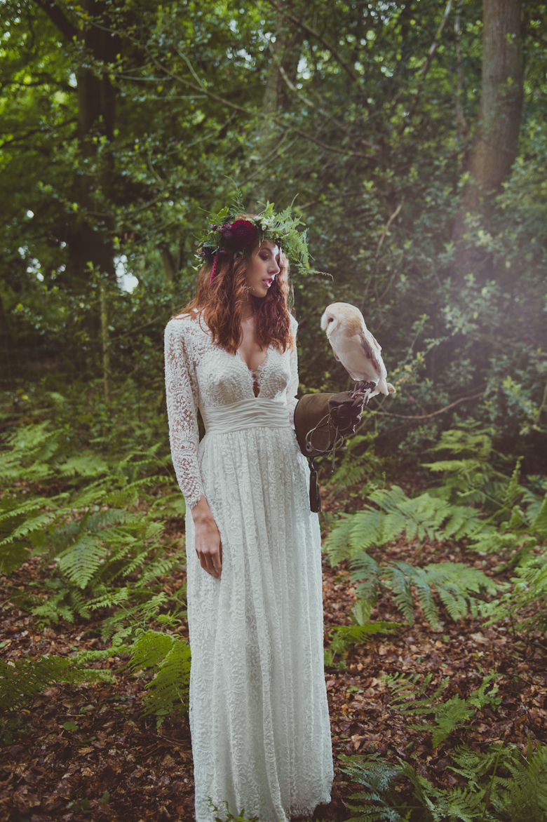 festival bride with owl - Styled Shoot