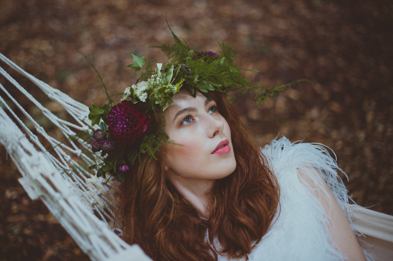 festival bride woodland wedding