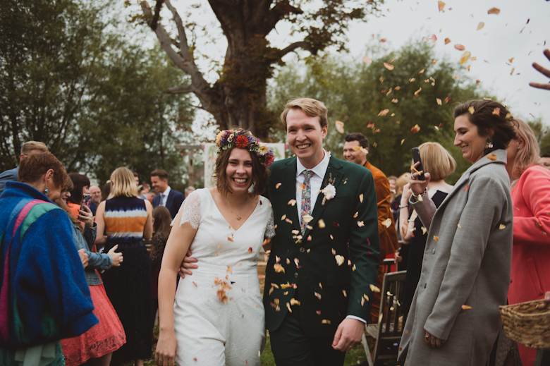 confetti at the Isis Farmhouse in Oxford, Oxfordshire - festival wedding photography