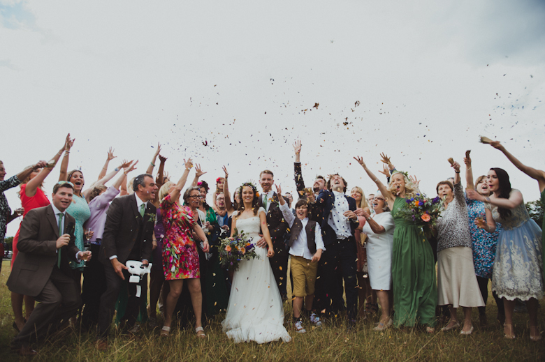 Confetti, outdoor ceremony festival wedding in Surrey wedding photography