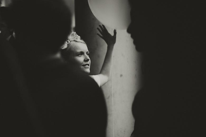 Black and white artistic shot of bride Asylum Chapel Peckham London