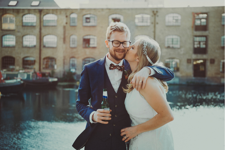 Couple kiss - London Canal Museum Wedding