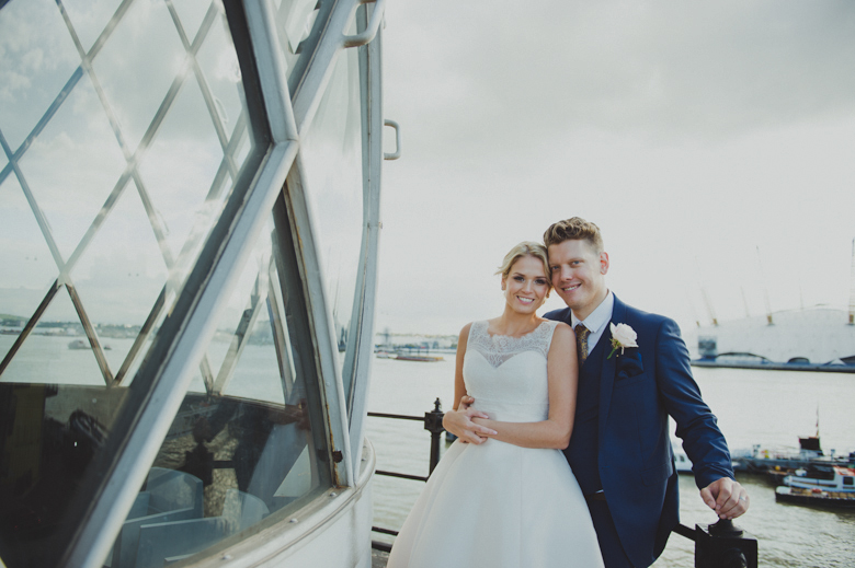bride and groom in a lighthouse - Urban wedding