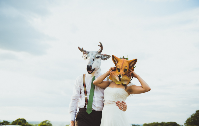 animal face masks - bride and groom - Wedding Photo Ideas
