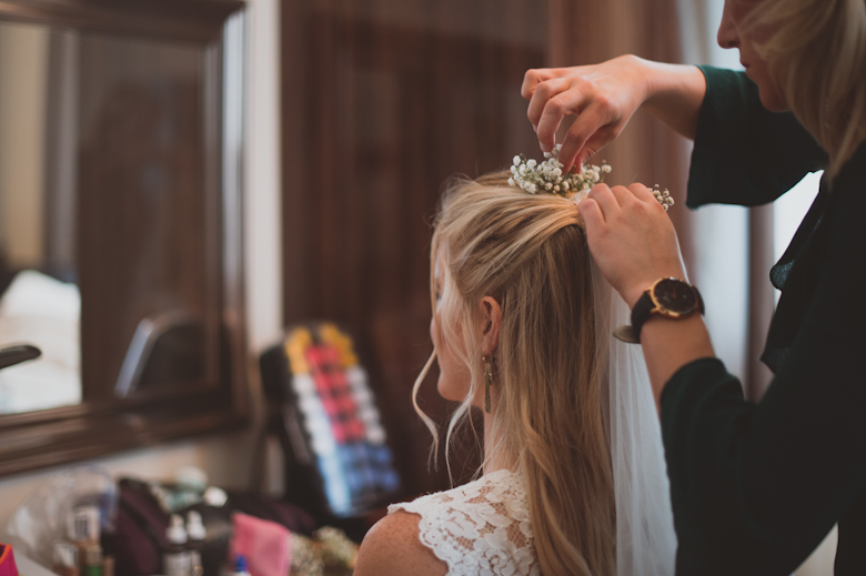 Bride getting ready - having hair done