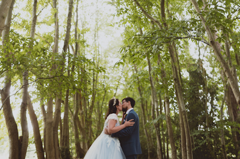 Outdoor Wedding Photography - Woodland wedding photography Surrey, photographer - natural wedding photographer UK, bride groom kiss in the forest