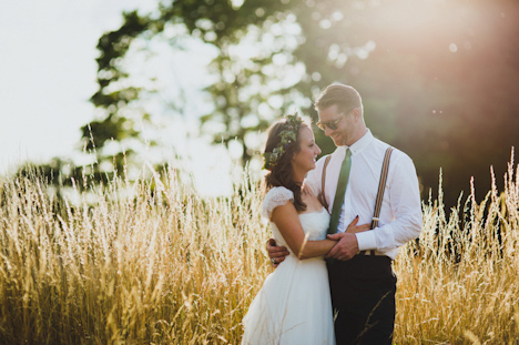 Outdoor Wedding Photography - Woodland wedding photography - Surrey photographer - festival wedding photography - bride groom in the fields at sunset