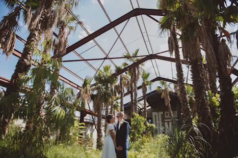 London Photographer - warehouse wedding photography London - natural wedding photographer UK - Trinity Buoy Wharf - palm trees exotic wedding photography